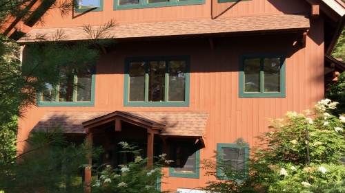 facade of lake home
