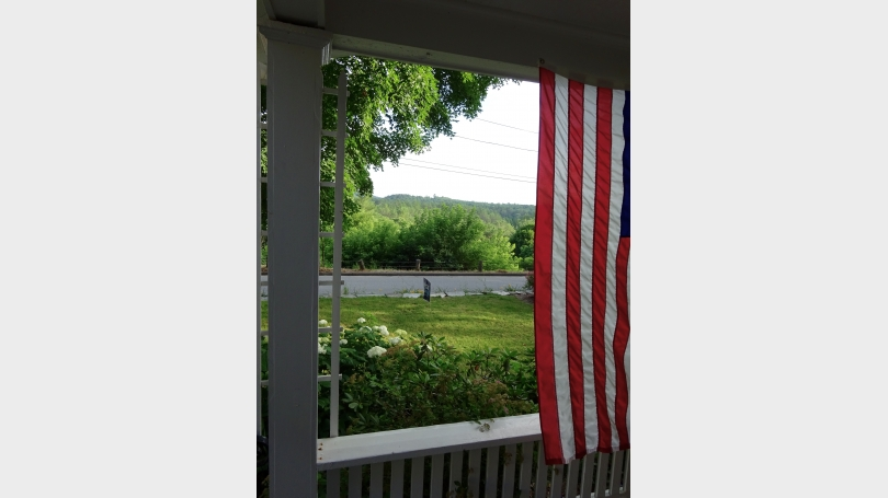 View from the front stoop to hills and Mount Ascutney.