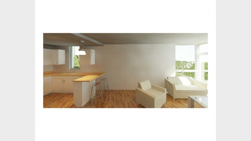 Corner Unit Living Room and Kitchen