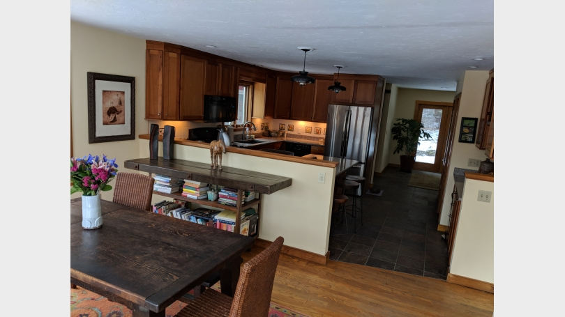 dining room to kitchen to back porch room