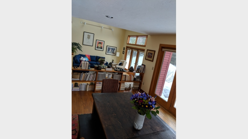 bright, open dining room into living room