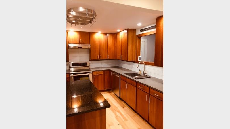 Open cherry kitchen, stainless appliances, island