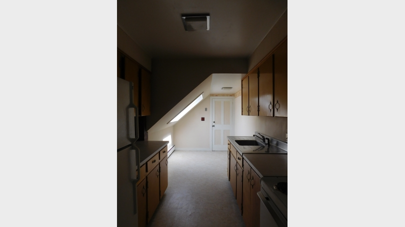 Kitchen to back entrance and skylight