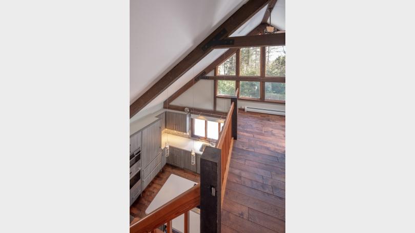 View of gourmet kitchen from 2nd floor loft.