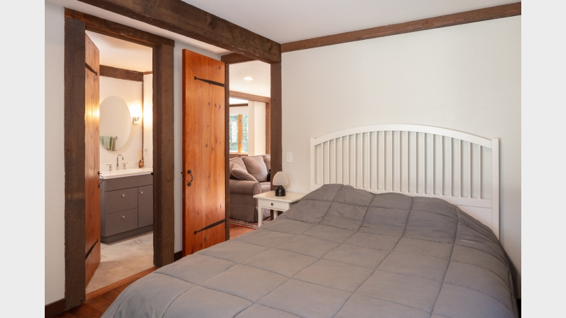 First floor guest bedroom with full bath.